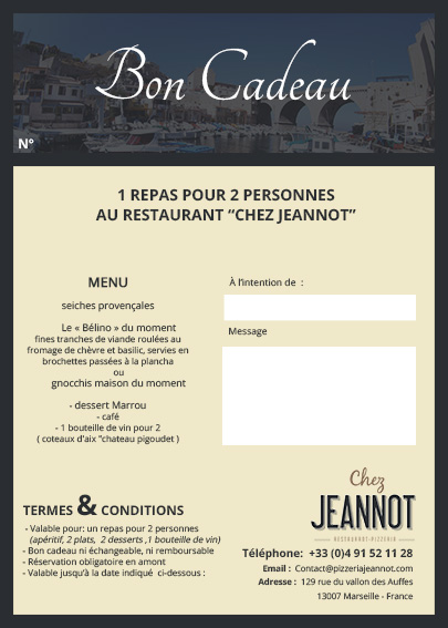 bon cadeau repas pour deux pizzeria chez jeannot restaurant marseille. Black Bedroom Furniture Sets. Home Design Ideas